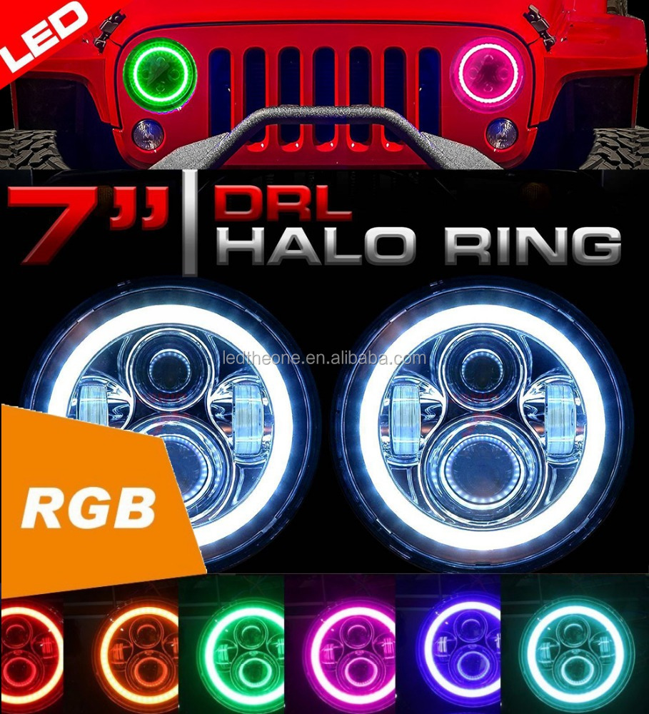 "New arrival!Jeep Wrangler Part Accessories 7inch round 7"" rgb led angel eyes colors headlight motorcycle led projector headlight"