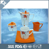 15pcs chinese porcelain tea set with orange color decal