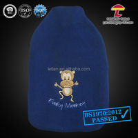 natural rubber hot water bag high quality 1000ml cover in blue colour with funky monkey