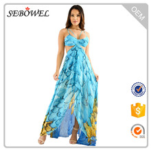 Latest Fashion Feather Print Long Maxi Dress