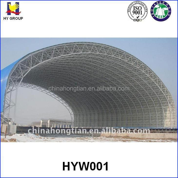 Prefab arch shape steel space frame roof structure
