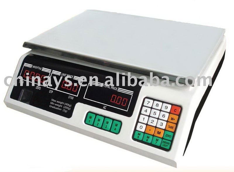 YS-208 LED Red Light Price Computing Scale 40kg / 5g,High Quality Strong Body,480g Heavy Duty Plate