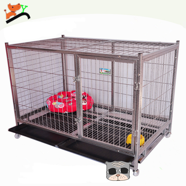 High Quality Thickened Iron Square Tube Dog Crate with Wheels