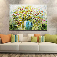 Modern Style Frame Abstract Floral Oil Flowers Vase Painting Designs