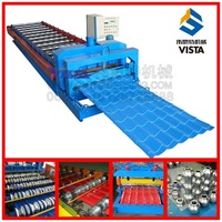 mobile house colorful steel roofing tile making machine, glazed tile roll forming machine manufacturer