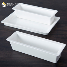Microwave Oven Safe Bread Rectangle Ceramic Baking Tray For Cake Shop