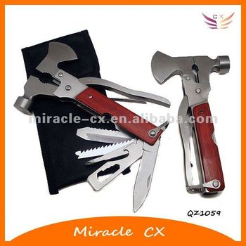 wood handle multi tool hammer with axe