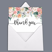 Roses Floral Wedding Thank You Greeting Cards Pack Of 20 With White Envelopes