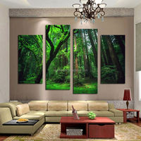 4 Panel Beautiful The Forest Green Trees Large HD Picture Modern Wall Decor Canvas Print Painting oil For Home Decorate Unframed