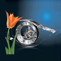 Promotional crystal mechanical skeleton clock for sale