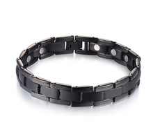 Black OneTitanium Magnetic Energy Germanium Armband Power Bracelet Health Bio 5in1 Bio Black For Men