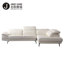 Modern large sizes white genuine leather corner sofa, L shaped leather sectional sofa set designs