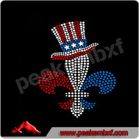 New Custom Design Fleur De Lis Iron On Rhinestone Transfer in Top Hat for 4th of July