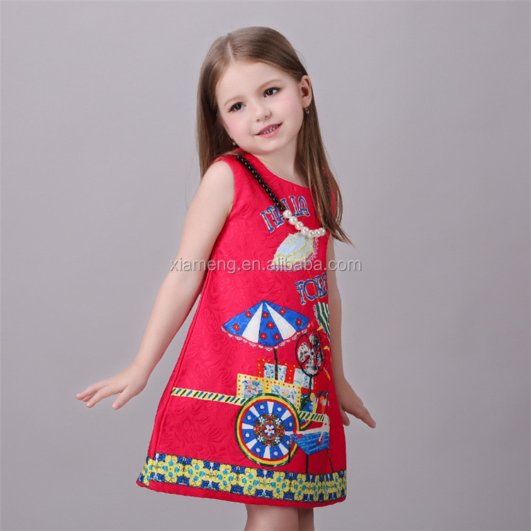 fashionable New colorful short sleeve kids girls frock
