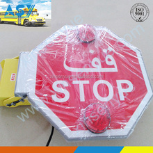 Electric stop sign board with reflective film and led warning light