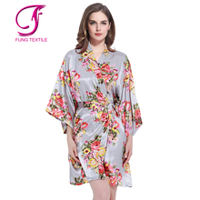 FUNG 3002 Best Sale Bright Printing Floral Satin Bath Robe