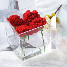 2017 luxury lib acrylic flower box case for 9 roses