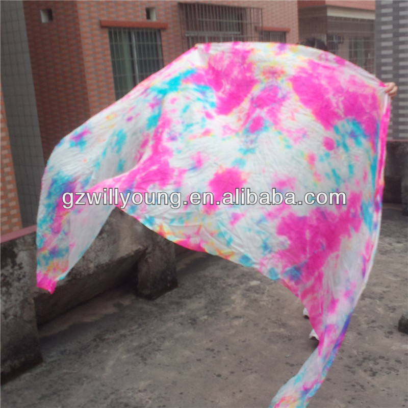 Belly Dance Tie-dyed Silk Veils, Pure Silk Material, 270*114CM, Tie-dyed White/Pink/Fuschia/Turquoise Silk Veils