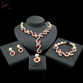 High Quality Artificial Ruby Jewelry African Alloy Fashion Jewelry Sets With Elegant Dress