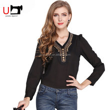 Fashionable V neck Solid Color Vintage Copper Button Long Sleeve Color Pictures of Smart Casual Chiffon Blouse