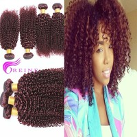 7A Burgundy Brazilian Hair Weaves Bundles 3pcs 99J Color Brazilian Kinky Curly Hair Cuticle Attached Red Wine Hair