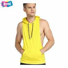Wholesale Sleeveless Hoodie Custom Stringer Hoodies Breathable Network Fabric Gym Wear Fittness Tank Tops Low Price