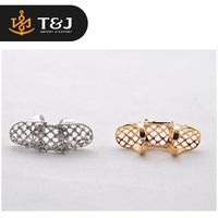 Hot Sale European Trendy Hollow Carving Finger Ring Fashion Gold Knuckle Ring Net Diamond Ring For Girls And Woman