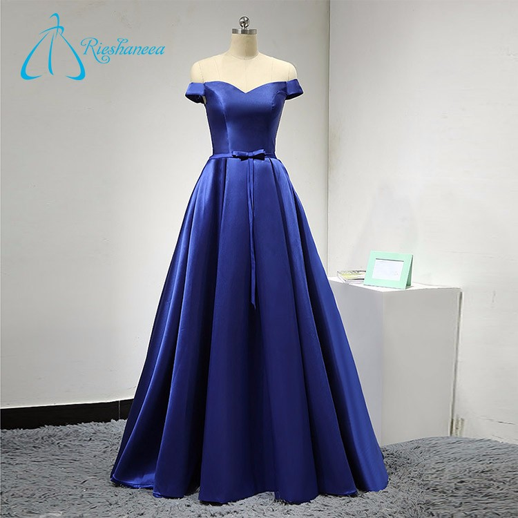 Sexy Sweetheart Short Sleeve Bow Satin Gowns Evening Dress