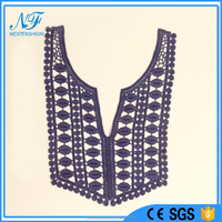 Dresses guipure lace Textile Embroidered top quality crochet lace necklines for garment in Guangzhou