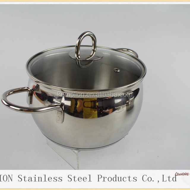 2016 High quality 24x13.5cm stainless steel cook pot/casserole with glass lid belly shape wire handle