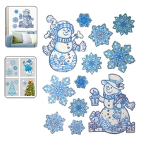 Christmas Series Snow and Snowman Pattern Glitter Window Stickers