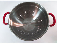 Stainless Steel Colander Basket Strainer With Silicone Handle and Base 24cm