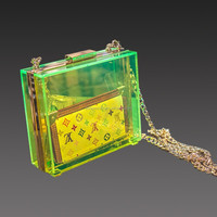 JA-HB-069 Handmade custom acrylic woman clutch box bag metal frame