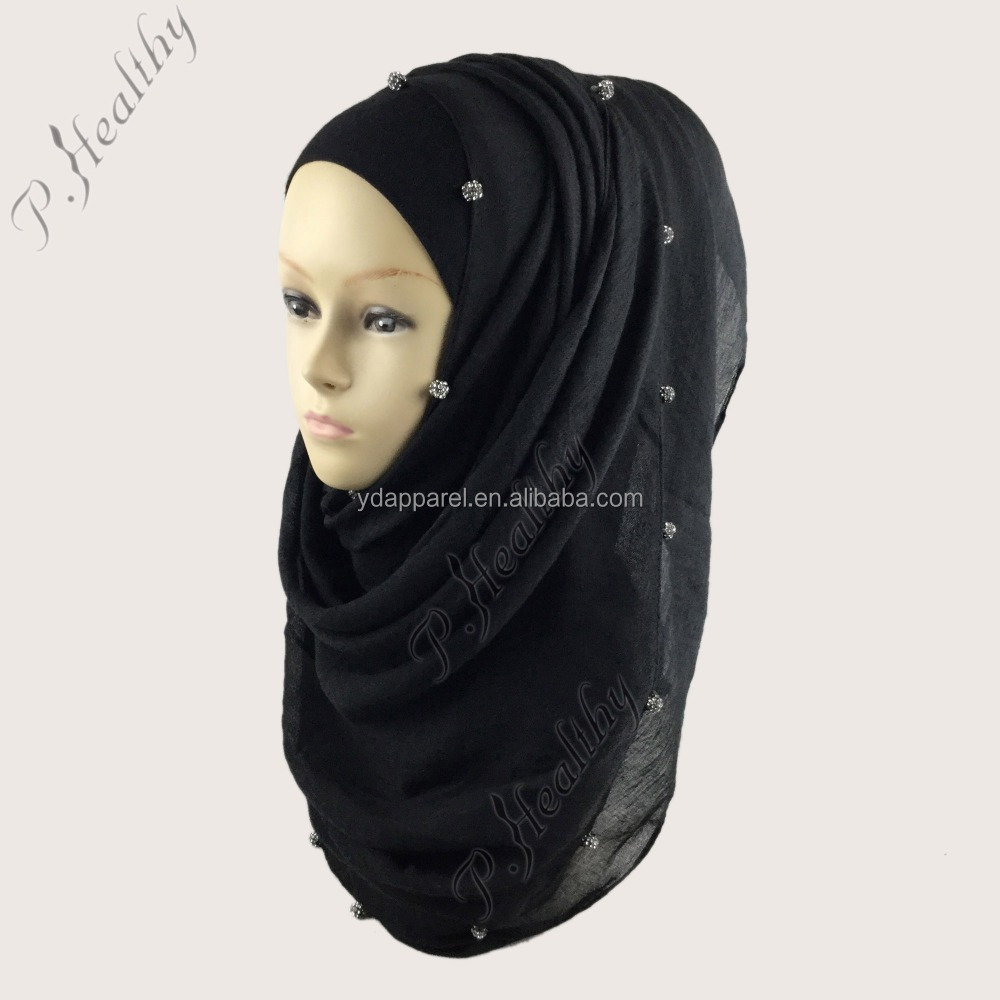 2016 Latest Design Plain Cotton Scarf Hijabs with Crystal Beads
