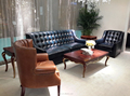 Antique blue cheaterfield leather sofa
