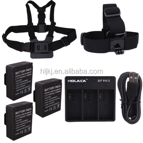 Holaca Accessories Chest Harness with Head Strap Mount and Battery and Charger for GoPro Hero 3 3+ sports camera