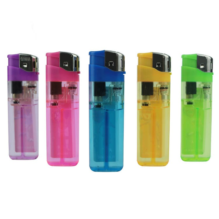 Customer's brand laber sticker five transparent colors electronic disposable fire cigar lighter
