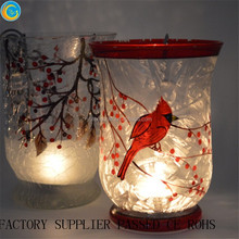 Poinsettias Hand-Painted Crackle Glass Hurricane Candle Holders Bird of Snow Tree Crackle Glass Candle Holder