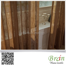 Ready made natural linen fabric sheer curtain , polyester sheer curtain