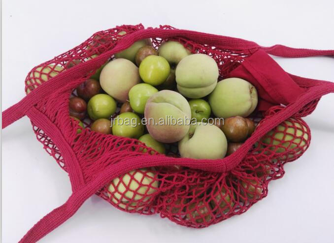 Wholesale EU Standard Reusable Grocery Tote Shopping Style Foldable Cotton Mesh Bag