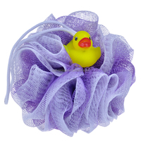 (BA-E-006) The Bath Shower Body Exfoliate Puff Sponge Mesh Net Ball With Animal Doll