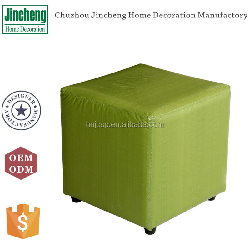 Modern coloful green woven pp plastic square foot stool chair
