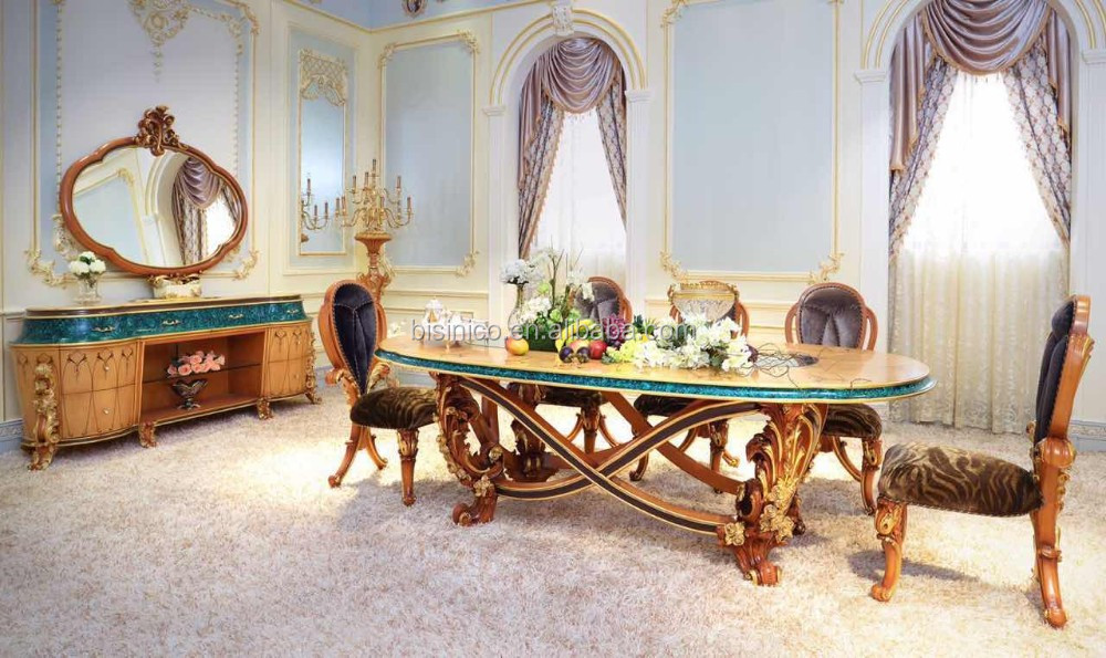 Italy New Design Neo-Classic Marquetry Dining Room Furniture Wooden Carving Dining Table Set For 8 People