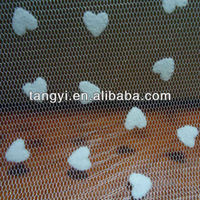 20D polyester tulle flocking heart shape mesh fabric