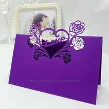 "wholesale wedding supplies festival supplies best price "" flower & heart "" laser cut table seat card"