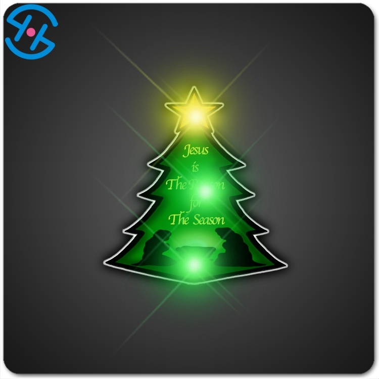 family Christmas, office Holiday party garden party decoration led light up christmas tree badge wholesale
