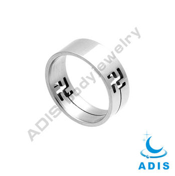 surgical steel little finger rings jewelry with laser pattern