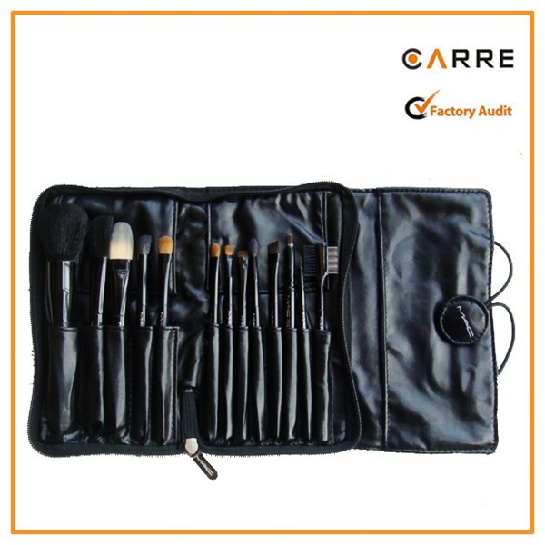 factory custom roll up soft PU leather make up brush holder
