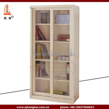 Steel Cheap Price Furniture Cupboard Office Filing Storage Metal Glass Sliding Door Cabinet with 4 shelves