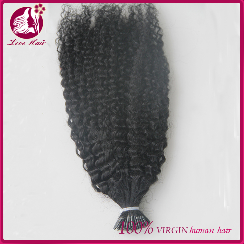 2016 Indian Virgin Hair Weave Afro Kinky Curly 1g/Strand 100g I Tip Human Hair Extensions For Black Women Natural Black Bundles